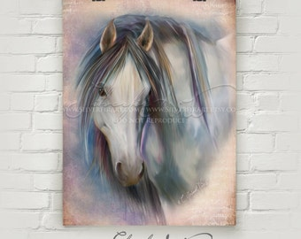 Eira... Wild Horse... XL Giclee Print...  Mustang Wild Study Painting Print... You Choose Size