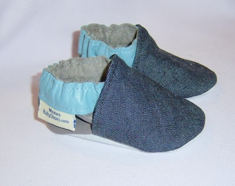 charcoal leather denim moccasins, Moxies soft soled leather baby shoes denim blue charcoal leather with blue leather trim-