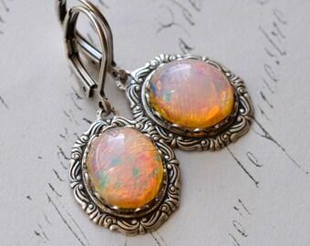 Pink Opal Earrings - Vintage glass opals in Silver plate settings