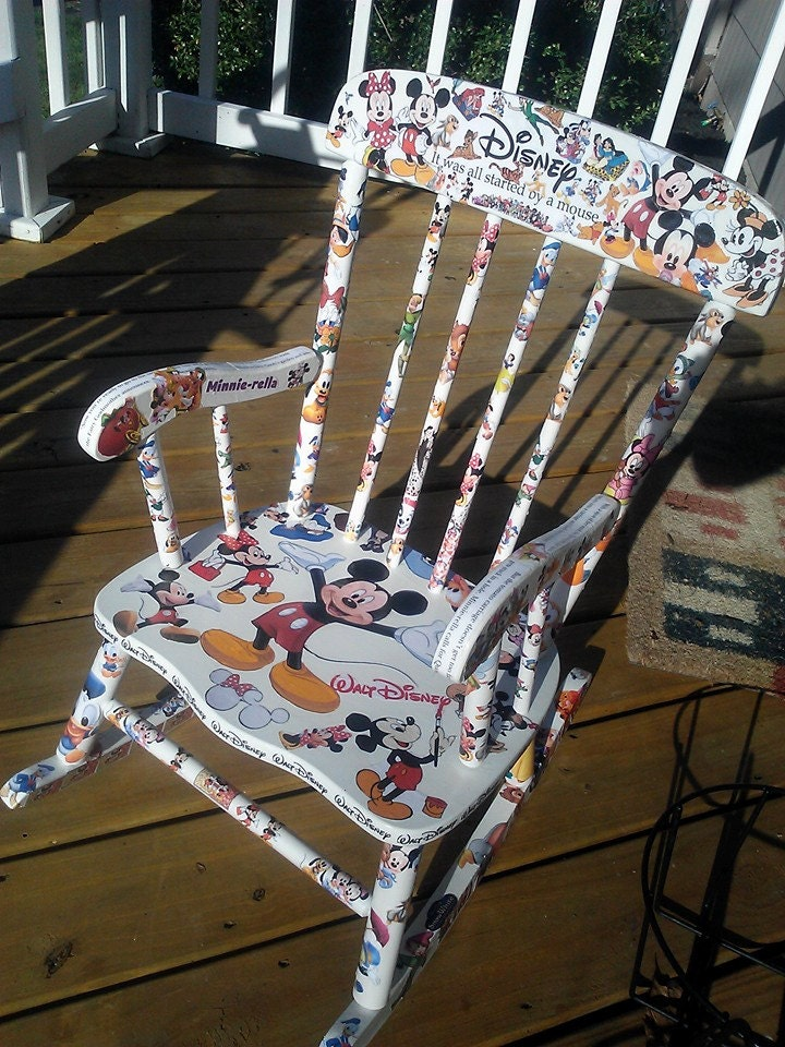 Classic Disney Mickey Mouse Decoupage Child Chairs Made To