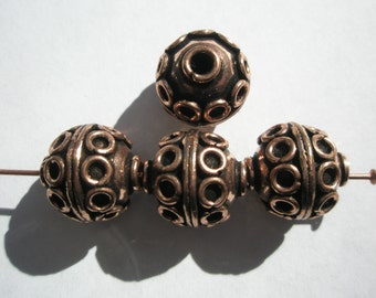 Antiqued Copper Bali style  Beads - 13mm - 4