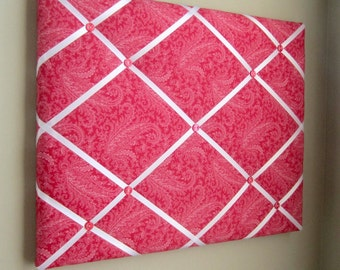 11x14 Red & White Floral Paisley Ribbon Memory Board, French Memo Board, Fabric Board, Ribbon Board, Bulletin Board, Pin Board, Vision Board