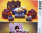 "McCalls 3042 Bean Bag Furniture for 11/2"" Fashion Doll Sewing Pattern Shipping to USA INCLUDED"