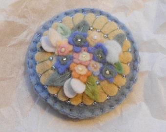 Felt Flower Pin Brooch,  Small Pastel Flower Bouquet  Pale Blue, Jade Green, Peach