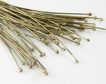 Bronze Ball Headpins 100 Ball Pins Antique Bronze 2.25 inch (60mm) 23 gauge (1040pin60z1)xz