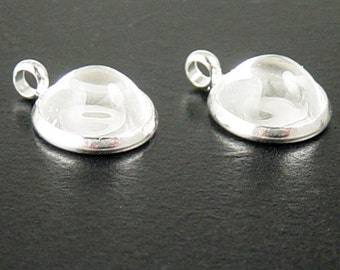 Pendant Setting 10 Silver Pendant Blanks Setting CHOICE Glass Dome Cabochon Round 15mm x 12mm x 2mm 10mm Pad Tray (1055pen15s1)
