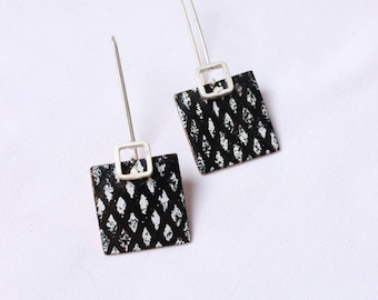 "Black and white enamel earrings, Sterling silver and copper, Classic and elegant earrings, ""Network earrings"""