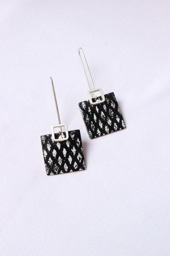 "Black and white enamel earrings, Sterling silver and copper, Classic and elegant earrings, ""Network earrings"""