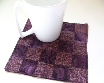 Reversible Purple and Black  Quilted  Mug Rug 1