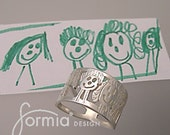 Silver family ring using your child's art