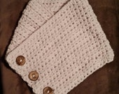 Ready to Ship Crocheted Cowl Scarf Chunky ORIGINAL BOSTON HARBOR Style Fisherman Cream or Eggplant Colors  Ladies Women 38mm Coconut Buttons