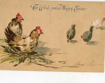 Easter Postcard, vintage postcard, antique postcard, vintage  Easter Greetings - Chicken & Chicks Greetings, Vintage, Tuck and Sons