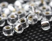 20 Grams Japanese Miyuki 6/0 Seed Bead - Crystal Silver Lined - 4mm (6-1)
