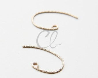 2pcs (1 Pair) 14K Gold Filled Bass Clef Earring Hooks - Ear Wire - Textured Wire 20x12mm