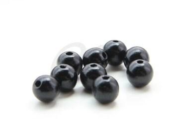 40pcs Czech Round Wood Beads - Polished Black 10mm (20401)