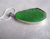 Large Showstopper Bezeled Kelly Green Pendant - Authentic Green Sea Glass Necklace - Simplicity Jewelry