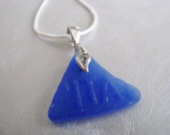 Letters ITA , Small Beach Glass Pendant , Cornflower Blue , Sea Glass Pendant , Sea Glass Jewelry