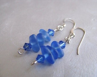 Beach Glass Jewelry - Sea Glass Stacked Earrings - Dangle Earrings - Cornflower Blue Ocean Jewelry - Sea Glass Earring Gift - Easter Earring