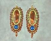 Earrings, jewelry, beaded, bead embroidery, Red Creek Jasper, Lapis