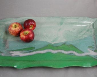 Large Serving Platter Tray in Green Landscape