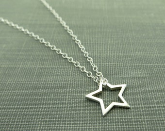 Sterling Silver Open Star Necklace - Dainty and Delicate Star Charm - Simple Modern Minimal Jewelry