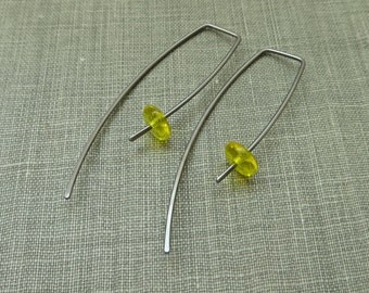 Niobium Dangle Hook Earrings - Yellow Glass Beads - Hypoallergenic - Simple Modern Minimal Beaded Wire Jewelry