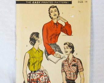 1950s Vintage Advance Pattern 7921 Blouse Pattern 32 Inch Bust