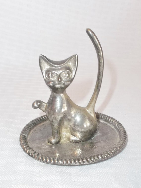 1950s vintage silver plated cat ring holder