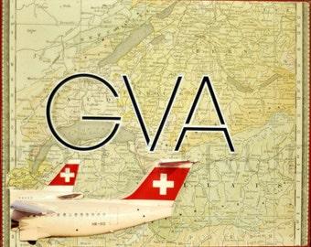 ARTWORK. Up in the Air Series. GVA. Geneva Airport, Switzerland. 100 Percent Recycled MapArt using an 1888 map of Switzerland