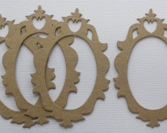 Mini Ornate Frames - Chipboard Die Cuts - Bare Oval Picture Frame Embellishments