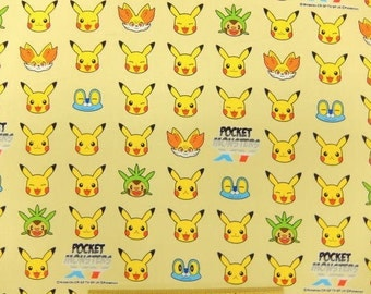 Pokemon licensed fabric pikachu Half meter 50 cm by 106 cm or 19.6 by 42 inches Printed in Japan ©nintendo ©pokemon