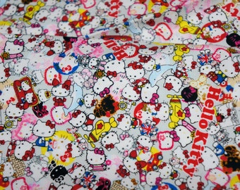 Hello kitty Fabric Kitty and Roses 50 cm by 106   cm or 19.6 by 42  inches  A5