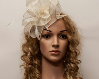White or cream fascinator  for weddings -  Feather fascinator hat for Kentucky Derby, Ascot