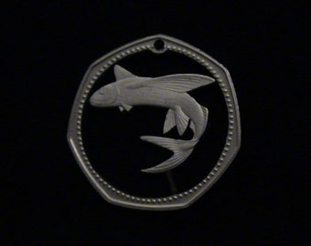 Barbados - cut coin pendant - w/ Flying Fish  - 1974