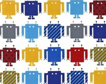 Two (2) Yards- Funbots by Robert Kaufman Fabrics AAK-13959-204 PRIMARY