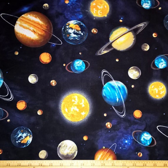 Two 2 yards stargazers planet stars space fabric robert for Planet print fabric