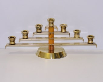 Art Deco Solid Brass & Butterscotch Bakelite Candelabra, circa 1920s