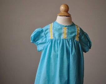 1960s Summer Turquoise Dress~Size 18 Months