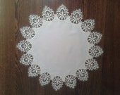 """Venitian Lace -- 21"""" Round or Doily -- Ivory 100% Polyester"""
