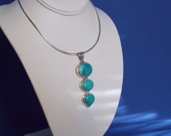 FREE SHIPPING - Sterling Silver Chocker with a Sterling Silver and Turquoise Pendent