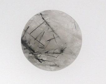 Black Rutilated quartz round cabochon, 25.5mm, 40.94 carats                                   069-17-001