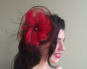 SINAMAY FASCINATOR , with Feathers, Red  /  F - 44
