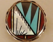 SOUTHWESTERN ZUNI INLAID Pendant Pin Sterling Signed by artist 7/8 in diameter  coral turqouise jet mop Sun