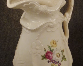 Large IRONSTONE PITCHER Fluted Relief Scrollwork Flower Ceramic Handcrafted design  pottery 1940s  not signed  13in tall