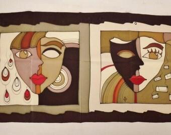 "Vntg Designer SCARF  POP ART 1970s Silk Scarf Handpainted large Faces   52""L 14.5"" W"