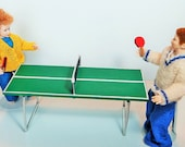Scale Dollhouse Miniature Ping-Pong Table and Two Paddles Handamde From Scratch