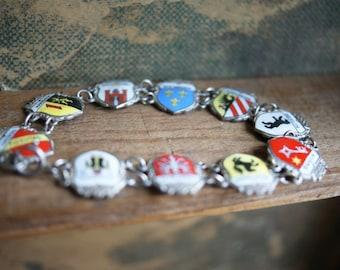 Vintage Souvenir Bracelet   Sterling Silver   German Cities   Enameled Silver   Shield Bracelet   Coat of Arms