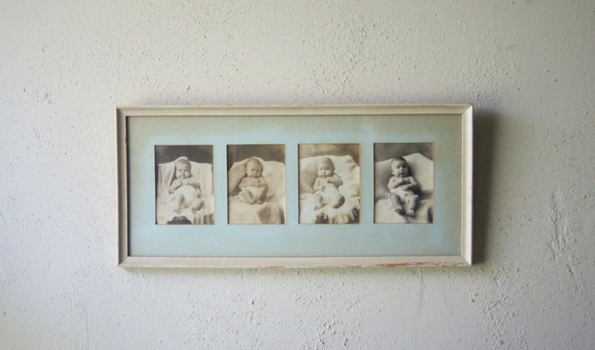 Vintage Wall Decor Nursery : Antique framed baby photos nursery wall decor vintage