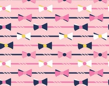 "Derby Style in Pink and Navy Bow Ties Fabric - Riley Blake by Melissa Mortenson Derby Main - 11"" x 44""  Yard"