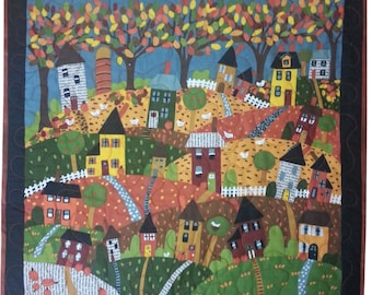 Quilted Wall Hanging in an Autumn Town through the Changing Season